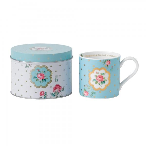 Polka Blue Seasonal Mug in Tin
