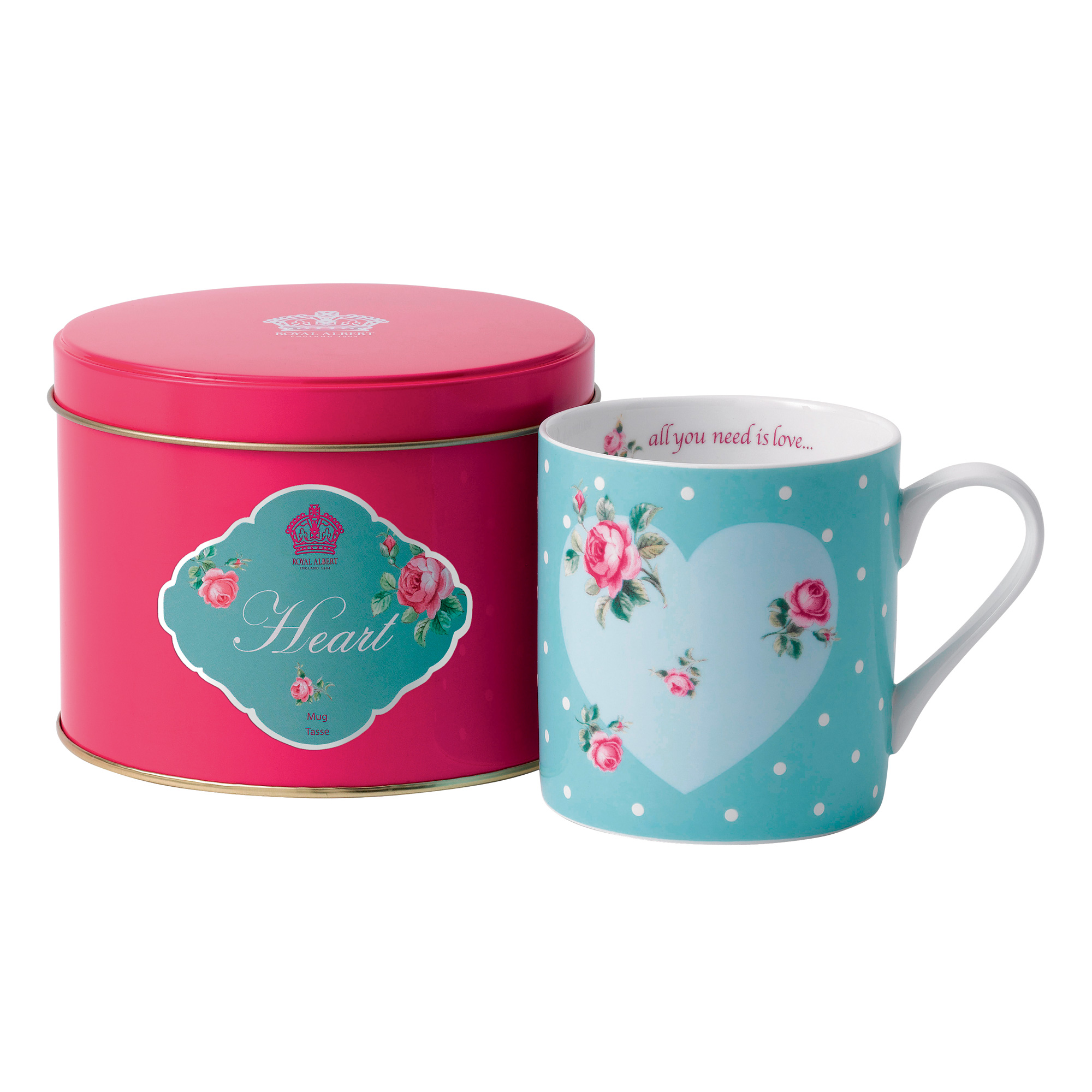 "New Country Roses ""Heart"" Mug in Tin"