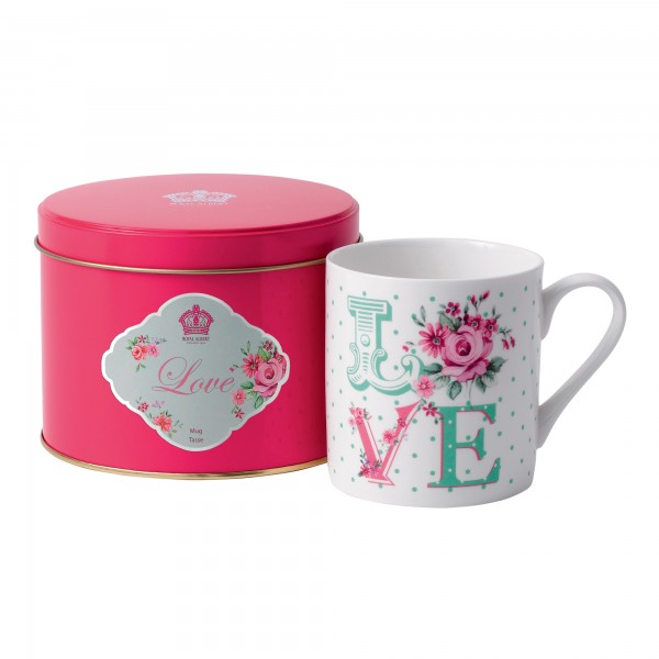 """New Country Roses """"Love"""" Mug in Tin"""