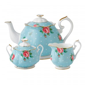 Polka Blue New Country Roses 3pc Teapot, Sugar and Creamer Set