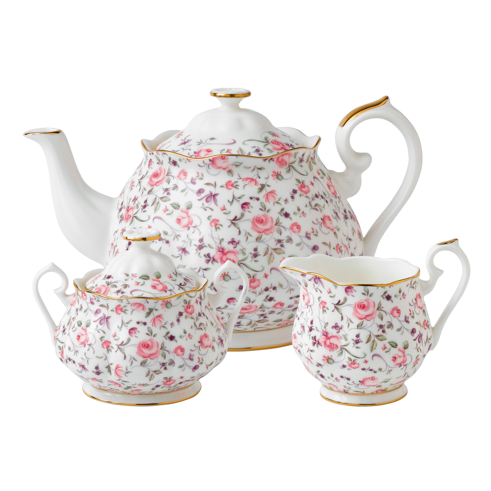 New Country Roses 3pc Teapot, Sugar and Creamer Set (Confetti)
