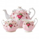 New Country Roses 3pc Teapot, Sugar and Creamer Set (Pink)