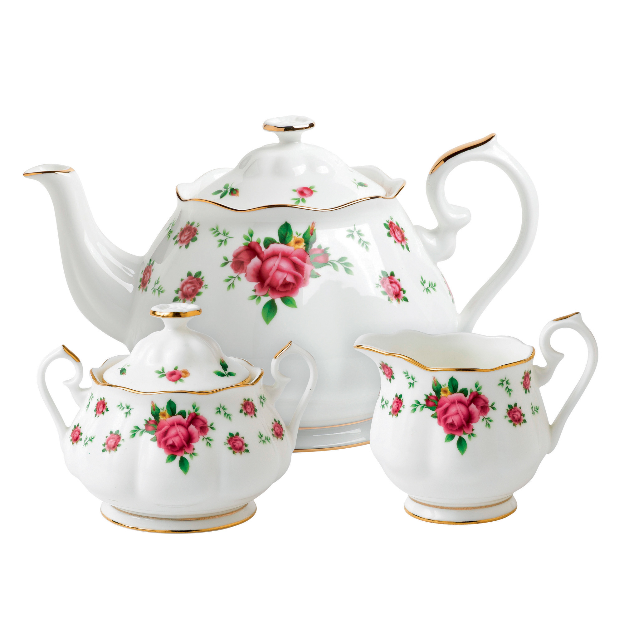 New Country Roses 3pc Teapot, Sugar and Creamer Set (White)