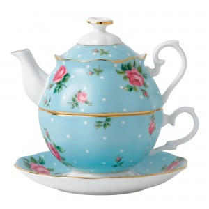 Polka Blue New Country Roses Tea For One
