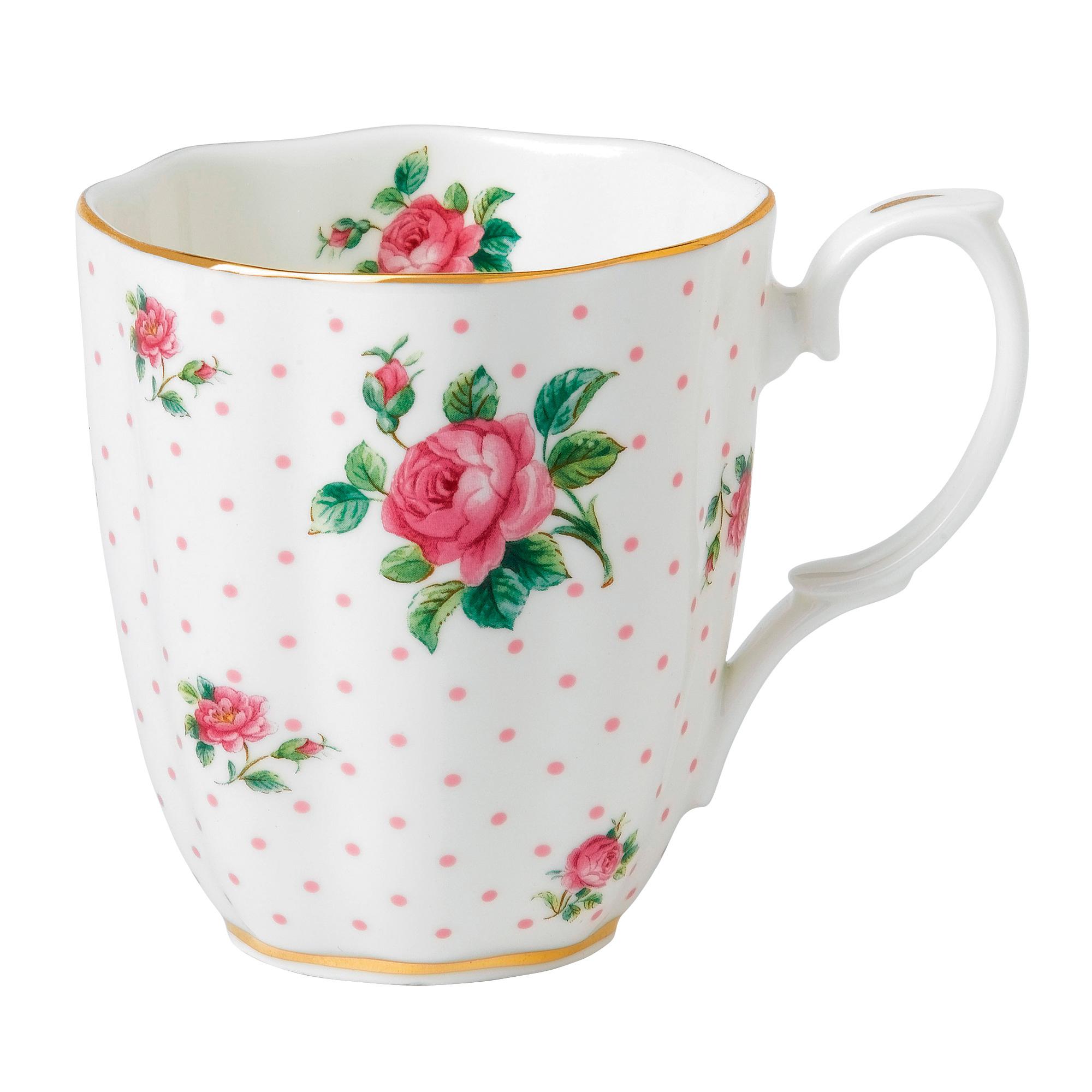 Vintage Mug (White with Pink Roses)