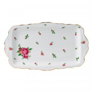 Vintage Sandwich Tray (White with Pink Roses)