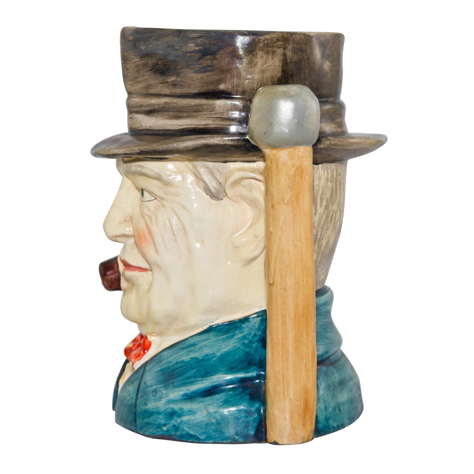 Winston Churchill Large Character Jug (Walking Stick Handle)