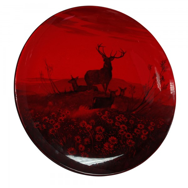 Flambe Charger - Scene of Buck with three Deer Standing in Field of Flowers - Royal Doulton Animal