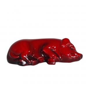 Flambe Pig Snoozing (Small) HN801 - Royal Doulton Animal