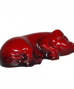 Flambe Pig Snoozing (Small) HN801 - Royal Doulton Animal