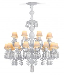 24 Light Chandelier - White (Belle de Nuit Collection) 01023195 - Lladro Lighting