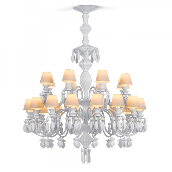 24 Light Chandelier - White (Belle de Nuit Collection) 01023195 - Lladro Lighting