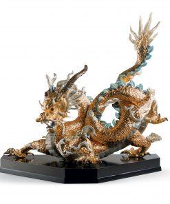 Great Dragon (Golden) 01001973 - Lladro Fantasy