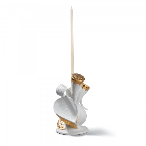 Naturofantastic Single Candle Holder (Gold & White) 1007959 - Lladro Naturofantastic