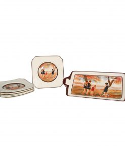 "Seriesware ""Surfing"" 7pc. Sandwich Set - Scene of bathers at the waterside (Set includes one tray and six small plates) - Royal Doulton Seriesware"