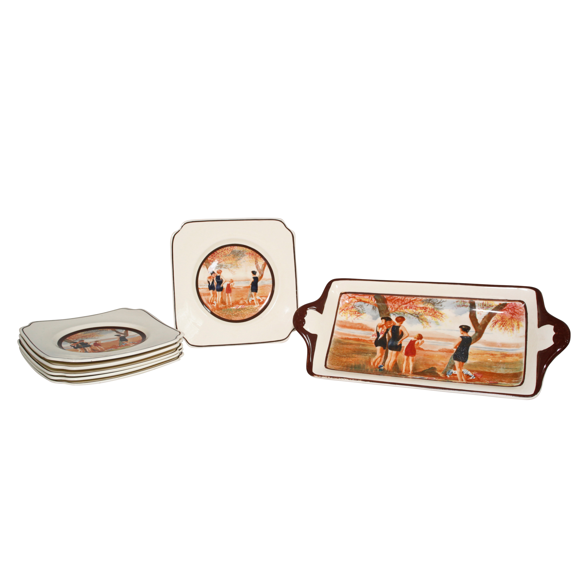 """Seriesware """"Surfing"""" 7pc. Sandwich Set - Scene of bathers at the waterside (Set includes one tray and six small plates) - Royal Doulton Seriesware"""