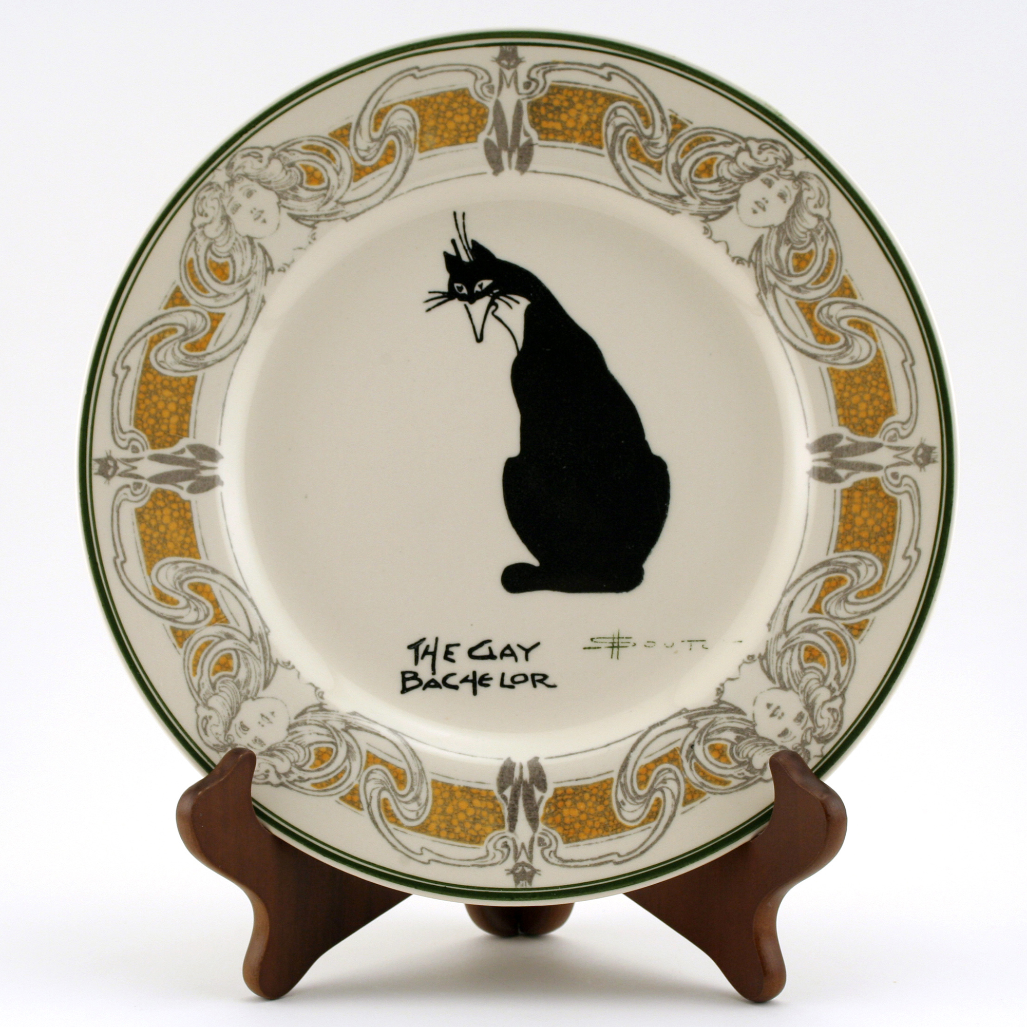 """Souter Cat Plate """"The Gay Bachelor"""""""