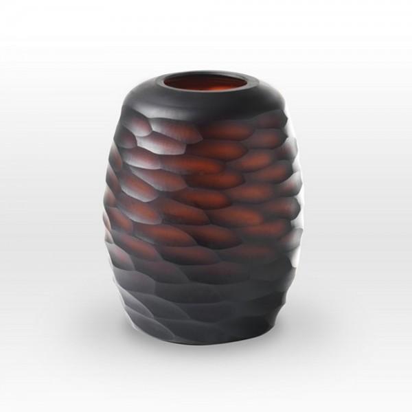 Dark Amber Cut Vase CV0107 - Viterra Art Glass