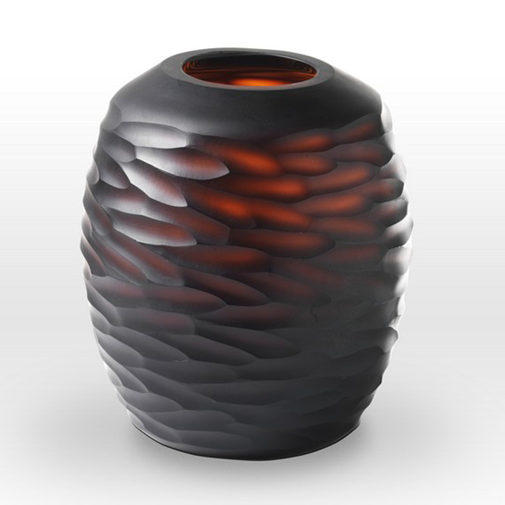Dark Amber Cut Vase CV0110 - Viterra Art Glass