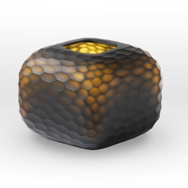 Dark Mustard Cut Vase CV0207 - Viterra Art Glass