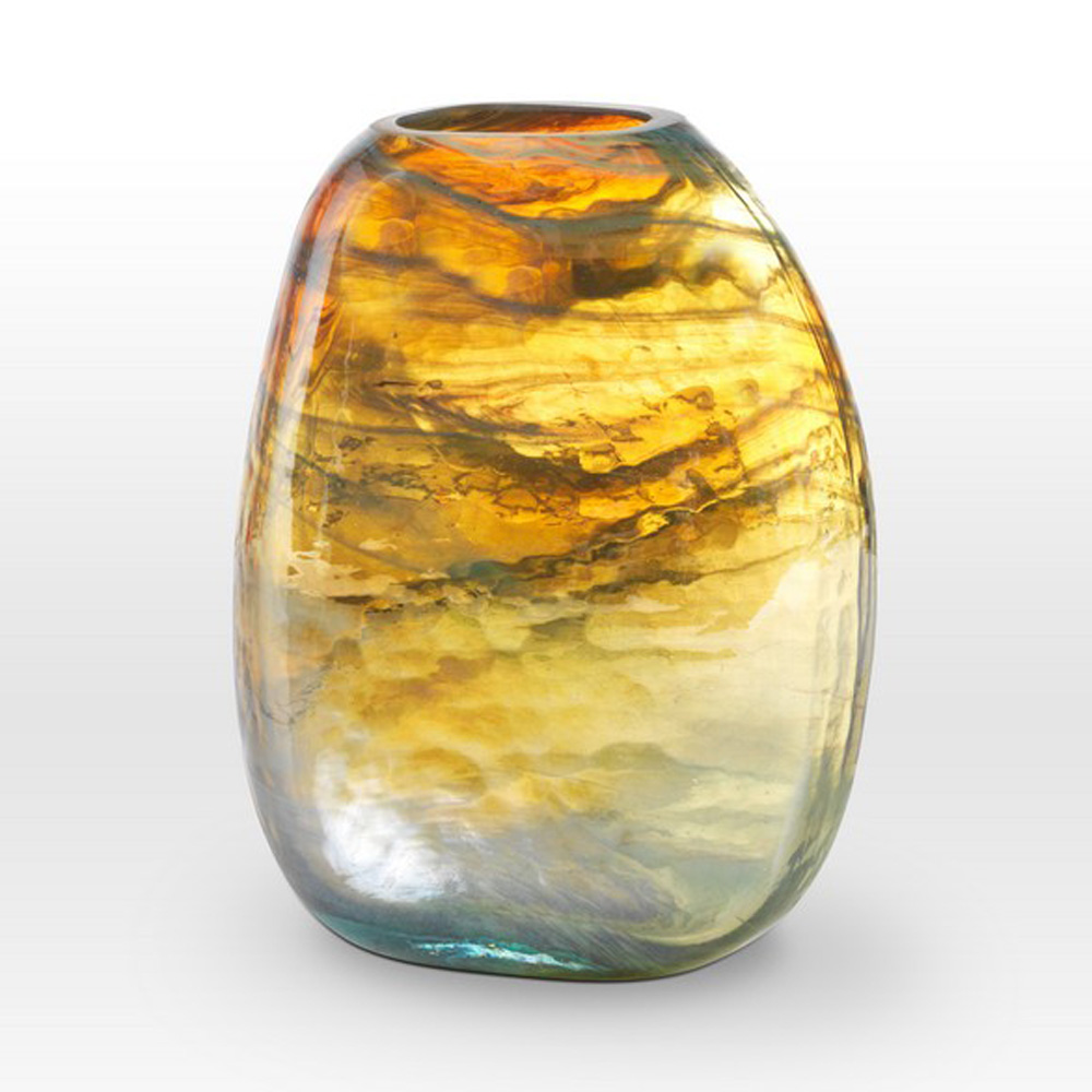 Lustre Caramel Teal Vase GL0110 - Viterra Art Glass