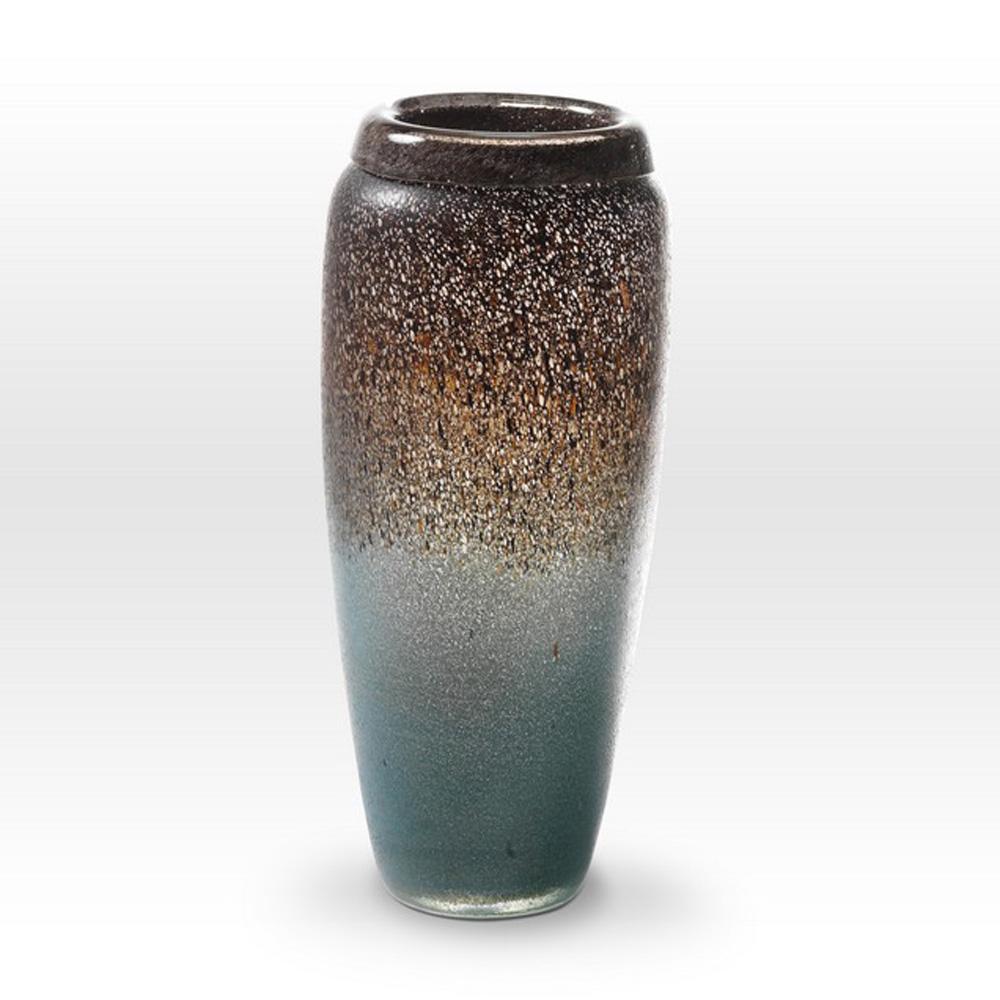Earth Tones Turquoise Vase LA0114 - Viterra Art Glass