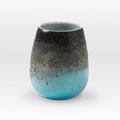 Earth Tones Turquoise Vessel LA0207 - Viterra Art Glass