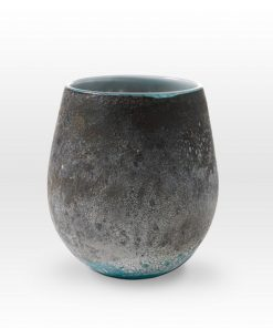 Earth Tones Turquoise Vessel LA0209 - Viterra Art Glass