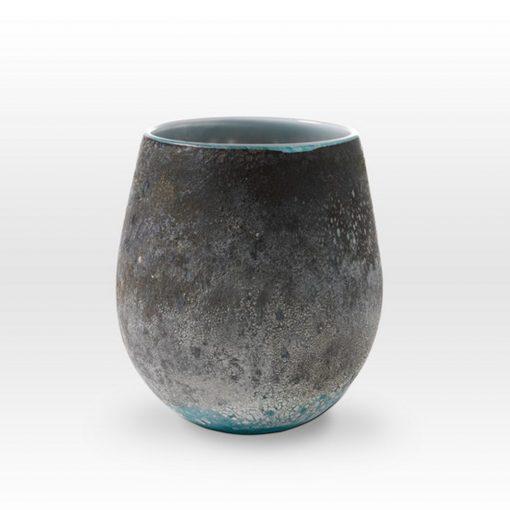 Earth Tones Turquoise Vessel LA0209 - Viterra Art Glass