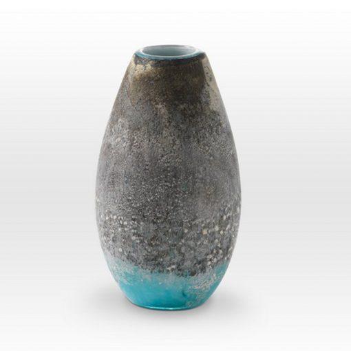 Earth Tones Turquoise Vase LA0211 - Viterra Art Glass