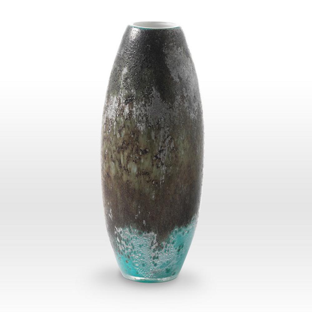 Earth Tones Turquoise Vase LA0215 - Viterra Art Glass