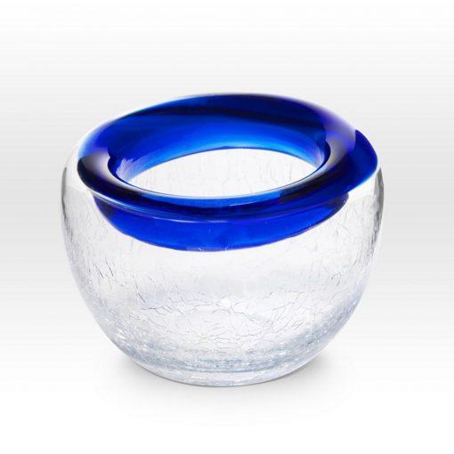 Cobalt Crackle Bowl RB0104 - Viterra Art Glass