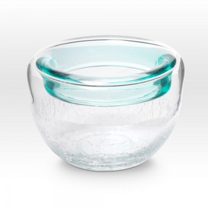 Aqua Crackle Bowl RB0204 - Viterra Art Glass