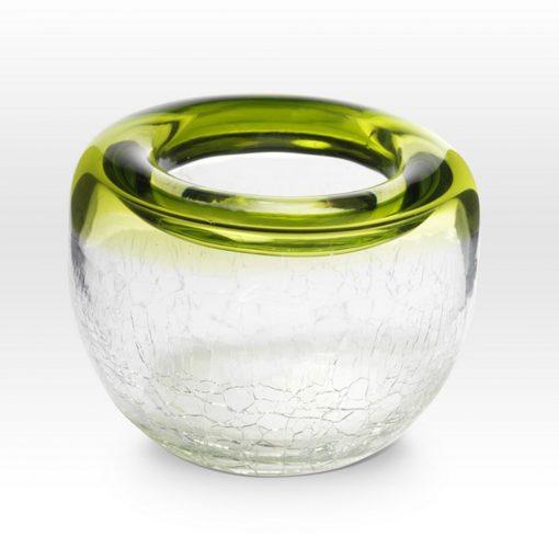 Chartreuse Crackle Bowl RB0304 - Viterra Art Glass