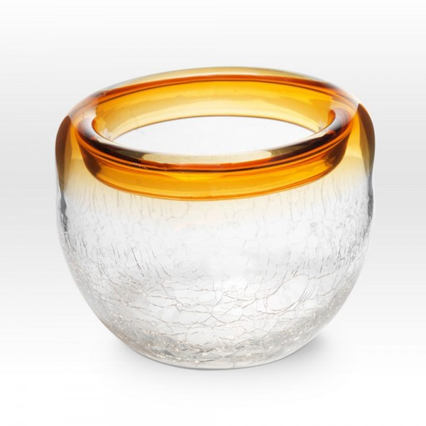 Amber Crackle Bowl RB0504 - Viterra Art Glass