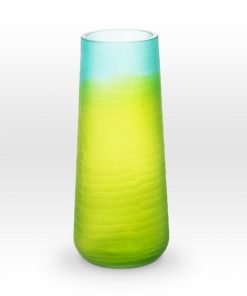 Ombre Blue Green Cut Vase SE0112 - Viterra Art Glass
