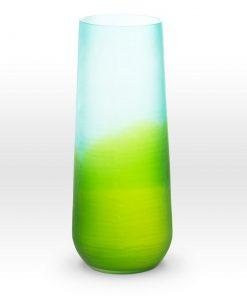 Ombre Blue Green Cut Vase SE0116 - Viterra Art Glass