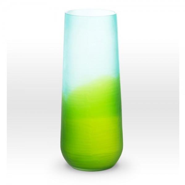 Ombre Blue Green Cut Vase SE0116 - Viterra Art Glass