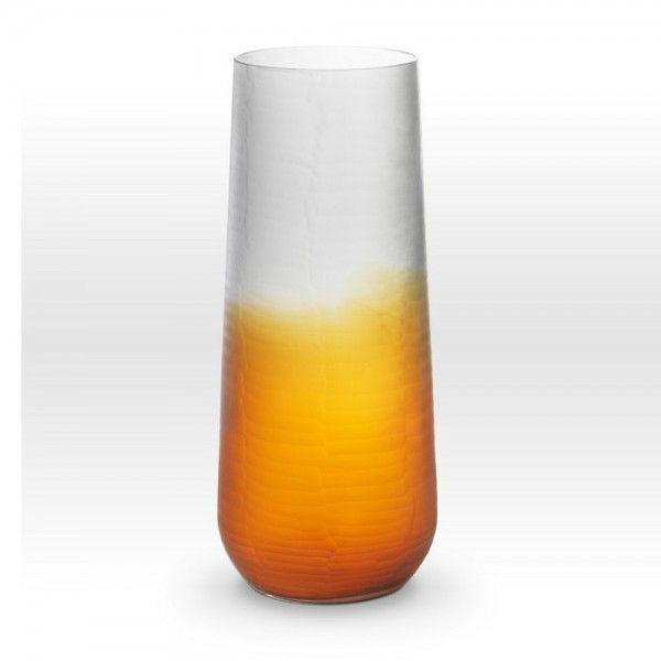 Ombre Amber Smoke Cut Vase SU0116 - Viterra Art Glass