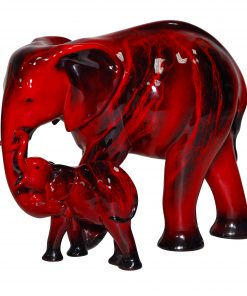 Elephant & Young HN3464 - Royal Doulton Flambe Animal