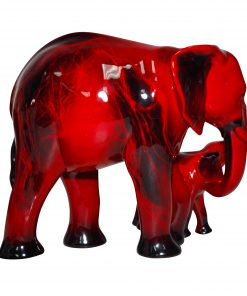 Elephant & Young HN3464 - Royal Doulton Flambe Animal