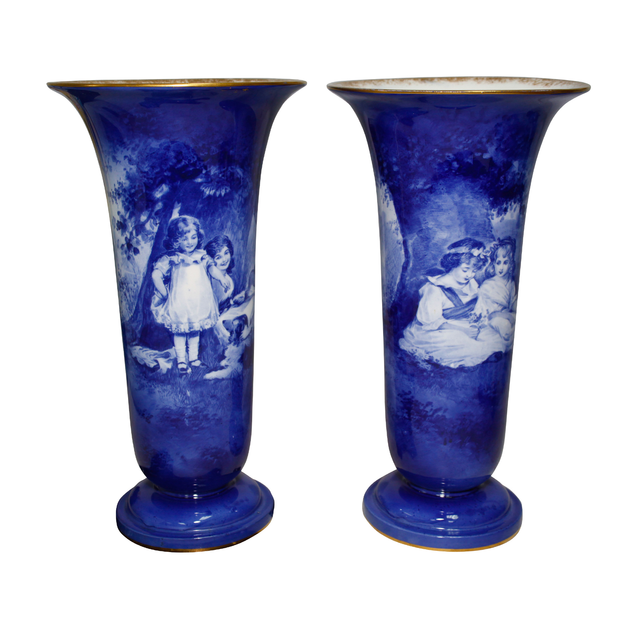 Blue Children Pedestal Vase Pa