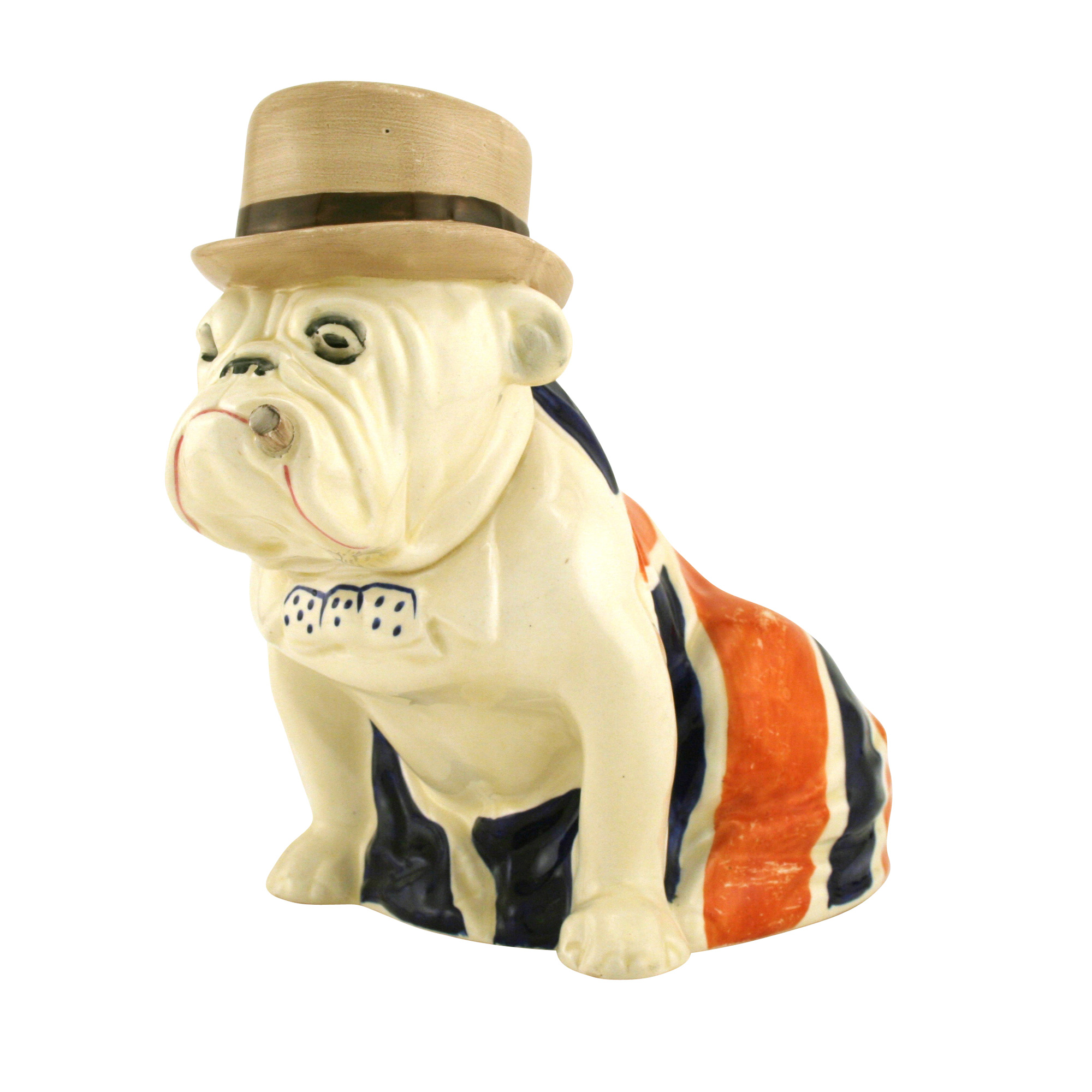 Bulldog Draped in Union Jack with Derby Hat D6178 - Large