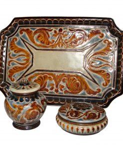 3pc Powder Vanity Set - Doulton Lambeth Stoneware