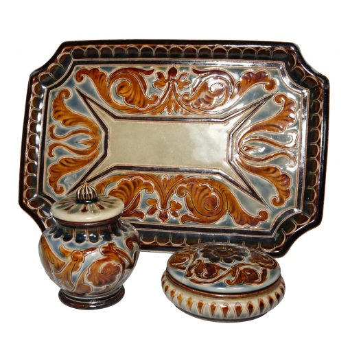 3pc Powder Vanity Set - Doulton Lambeth Stoneware