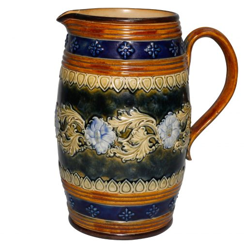 Stoneware Pitcher with Floral Scroll