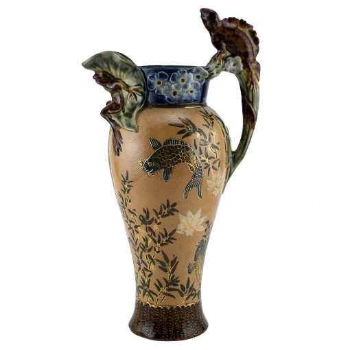 Stoneware Reptile and Fish Pitcher