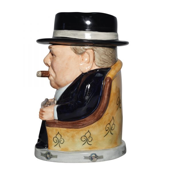 Winston Churchill Prototype Lidded Cigar Jar 2014 (Dark blue suit striped tie) - Bairstow Manor Collectables