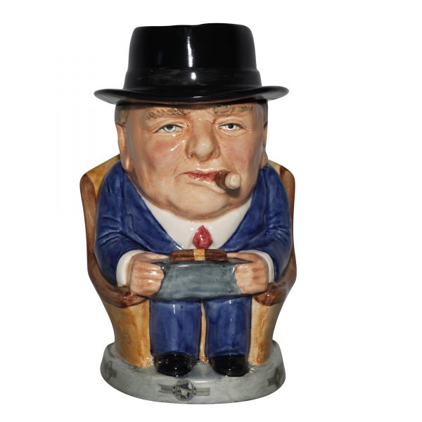 Winston Churchill Prototype Lidded Cigar Jar 2014 (Light blue suit red tie) - Bairstow Manor Collectables