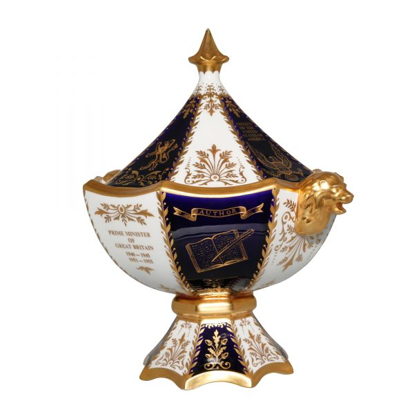 Winston Churchill Lidded Presentation Bowl with Double Handles (Gold Lions) - Abbeydale China